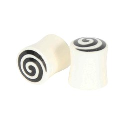 White/Black Swirl Solid Double Flare Plug