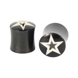 Black/White Star Solid Double Flare Plug