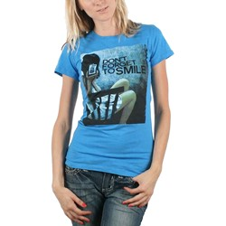 Don't Forget to Smile - Juniors Picture T-shirt in Blue