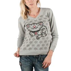 Big Bang Theory - Womens Pixel Kitty Knit V-Neck Sweater in Dark Gray