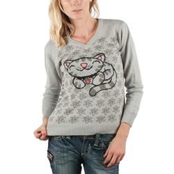 Big Bang Theory - Womens Pixel Kitty Knit V-Neck Sweater in Dark Gray