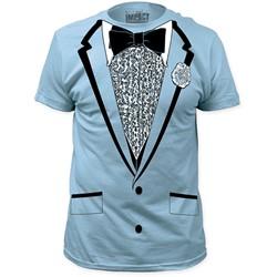 Impact Originals - Mens Retro Prom Big Print Subway T-Shirt in Light Blue