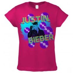 Justin Bieber - Girls Splatter Records Girls T-shirt in Hot Pink