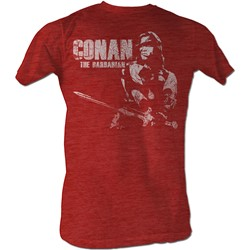 Conan The Barbarian - Mens Conan White T-Shirt In Red Heather
