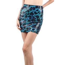 Iron Fist - Womens Water Cat Mini Skirt in Blue Leopard