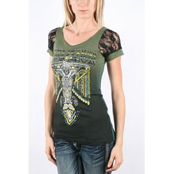 Affliction - Womens Tex Scoop Neck Lace Insert T-Shirt In Mil.Green/Blk Dip Dye