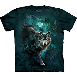 The Mountain - Mens Night Wolves Collage T-Shirt