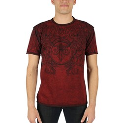 Affliction - Mens Primitive Rev.Tee T-Shirt In Dirty Red Lava/Black