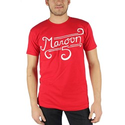 Maroon 5 - Mens Curl Logo T-Shirt in Red
