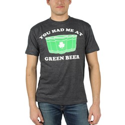 St. Patrick's Day - Mens You Had me at Green Beer T-Shirt in Black