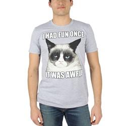 Grumpy Cat - Mens Fun Once T-Shirt in Heather Grey