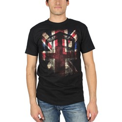 Dr. Who - Mens Tardis Union Jack T-Shirt In Black