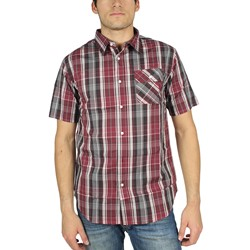 HUF - Capasso Plaid S/S Button Up Mens Shirt in Burgandy
