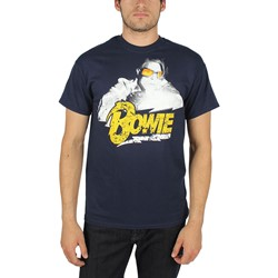 David Bowie - Mens Lightning Photo T-Shirt In Navy