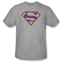 Superman - Mens Purple & Gold Shield T-Shirt In Heather