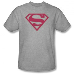 Superman - Mens Crimson & Gray Shield T-Shirt In Heather