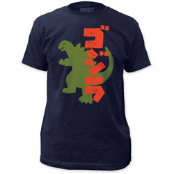 Godzilla - Mens Silhouette Fitted Jersey T-Shirt In Navy