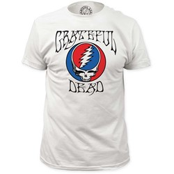 Grateful Dead - Mens Logo With Steal Your Face Fitted Jersey T-Shirt In White