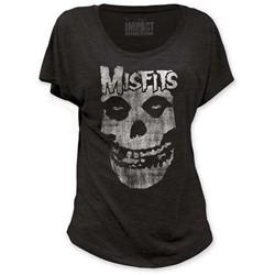 The Misfits - Distressed Skull Women's Dolman T-Shirt In Black