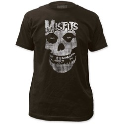 The Misfits - Mens Distressed Skull Fitted Jersey T-Shirt In Coal
