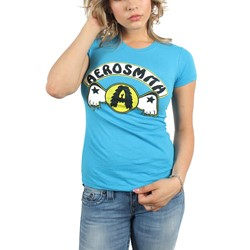 Aerosmith - Womens Circle A w/Wings T-Shirt in Turquoise
