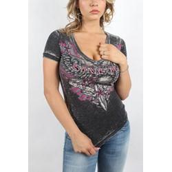 Sinful - Womens Allaura V-Neck V-Neck T-Shirt In Black Burnout Wash
