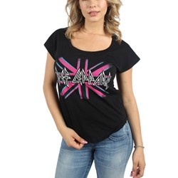 Def Leppard - Womens Pink Union Jack Logo Dolman T-Shirt In Black