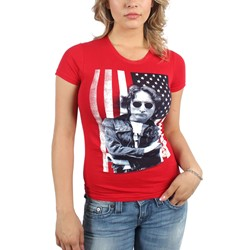 John Lennon - Womens Flag Photo T-Shirt In Red