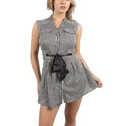 Double Zero - Womens Trisha Dress in Black/White Striped