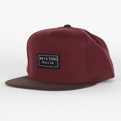 Brixton - Mens Guide Snapback Hat in Maroon/Brown