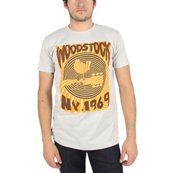 Woodstock - Mens Striped Ny 1969 Mens Slim Fit T-Shirt In Silver