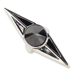 Han Cholo - The Protector Stone Ring in Silver/Black