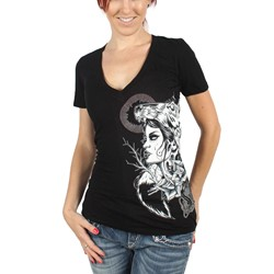 Sullen - Womens Howl V-Neck V-Neck Shirt in Black