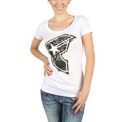 Famous Stars and Straps - Womens Speaker Scoop T-Shirt in White