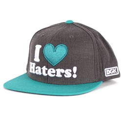 DGK - Haters Snapback Hat in Heather Charcoal/Teal