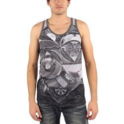 Imaginary Foundation - Mens Patternist Tank Top in Charcoal