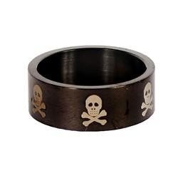 Skull and Cross Bones Design Stainless Steel Blackline Ring by BodyPUNKS