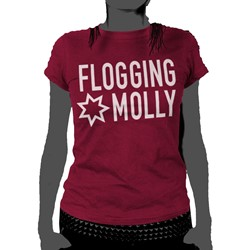 Flogging Molly - Star Logo Womens T-Shirt In Cranberry