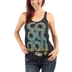 Acrylick - CA All Day Womens Racerback Tank Top in Tri-Black