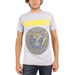 Ramones - Mens Yellow and Blue Seal T-Shirt in Gray