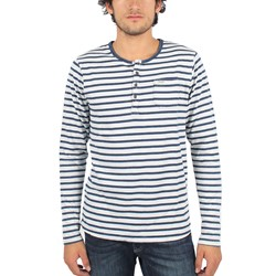 Scotch & Soda - Mens Indigo Granddad Long Sleeve T-Shirt in White/Navy