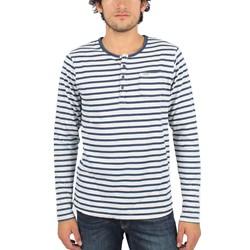 Scotch & Soda - Mens Indigo Granddad Long Sleeve T-Shirt in White/Navy