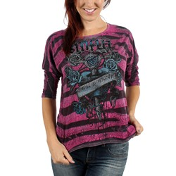 Sinful - Womens Hope Lost Top in Pink/Blk Jungle Wash Burnout