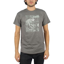 Pixies - Mens Monkey Grid T-Shirt in Charcoal