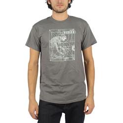 Pixies - Mens Monkey Grid T-Shirt in Charcoal