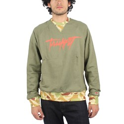 Trukfit - Mens Contrast Rib Crewneck Sweater in Deep Lichen Green