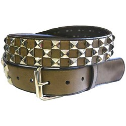 Brown alternate pyramid studded leather belt