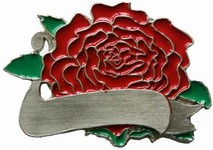Colored Rose Belt Buckle (Red, Green, and Silver Grey)