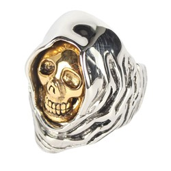 Han Cholo - Grim Reaper Ring in Silver Hood with Gold Face