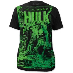The Incredible Hulk - Mens  Monster Unleashed Big Print Subway T-Shirt